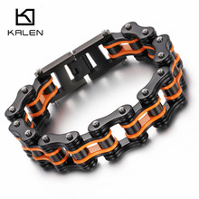 Kalen New Bike Link Chain Bracelet Men's 316L Stainless Steel Heavy Chunky Yellow Orange Bicycle Chain Bracelet Male Accessories
