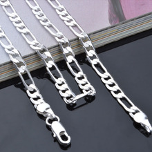 "Necklace - PBN102 / Women Silver-Color Figaro Chain Necklace 4mm 16-30"" Fashion Cheap Silver-Color Jewelry- fianl sale price"