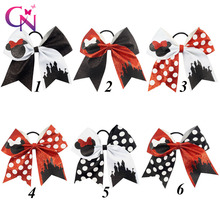 "12 Pcs/lot 7"" Girls Glitter Minnie Mouse Cheer Bow With Elastic Hair Band Children Kids Large Dots Ribbon Hair Accessories"