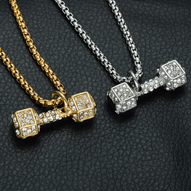 Barbell men pendant necklace ice out bling fitness jewelry mozeypictures Choice Image