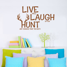 "Retail ""Live Laugh Hunt Deer "" Wall Decals Quotes /PVC Art Home Wall Stickers/Room Wall Decor"