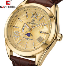 Buy NAVIFORCE Men's Genuine Leather Strap Dress Watch Mens Watches Top Brand Luxury Quartz Wristwatches Mens Gold Watches Male Clock for $16.99 in AliExpress store