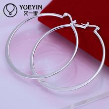 Accessories New Design silver plated jewelry Female's Hoop earrings Fashion brincos Earhook Trendy Ornaments Big circle(China)