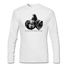 Men Long Family T-shirts Sites Crow Wolf and Bear Shirts with Graphic Animal Art Men's Cheap Price Short T Shirts(China)