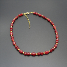 Natural Stone Classic Vintage Handcrafted Rubies  Beaded Necklace (chain length 46cm)(1 pc)