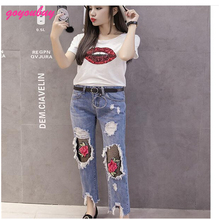 goyoubuy 2017 Summer new nets hole rose jeans women nine points show thin little pencil pants 2833