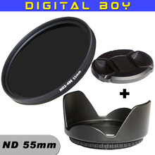 New 58mm ND Lens Filter Fader ND2 TO ND400 Neutral Density + Lens Hood + Lens Cap kit For Canon 18-55mm 75-300mm Camera
