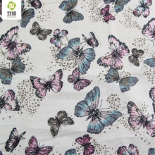 Butterfly Pattern Linen Fabric Needlework Textile Sewing Fabrics For Home Decoration Cloth Tablecloth Curtain 50*145CM M61