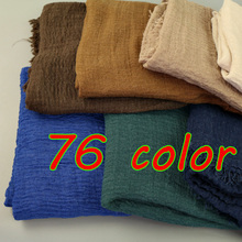 2017 NEW design Big size bubble cotton plain popular shawls hijab spring wrinkle wrap muslim 76 color scarves/scarf 180*100cm(China)