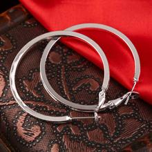 Stylish Silver Plated  Round Hoop Earrings Women Loop Celebrity Brand Office Party Gift Bijoux Classic Jewelry Small/Large