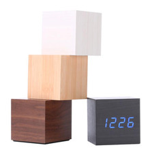 Multicolor Sounds Control New Modern Wooden Wood Digital LED Desk Alarm Clock Thermometer Timer Calendar Fashion Table Decor