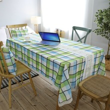 Green Geometric Printed Tablecloth High Quality Waterproof Table Cover American Country Lace Edge Dining Polyester Table Cloth