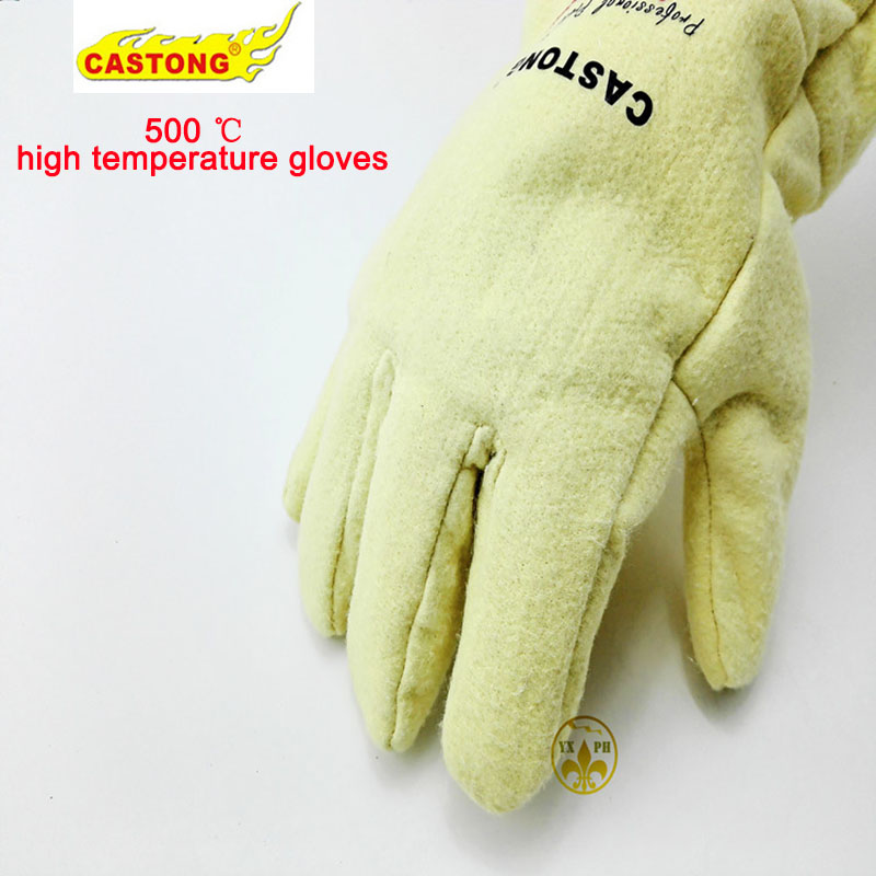 Fireproof glovesNFRR 500 degrees high temperature resistant gloves aluminum foil heat insulation anti-scald cutting safety glove<br>