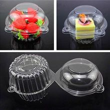 100 Clear Plastic Cupcake Box Single Cake Case Muffin Pod Dome Holder Container(China)
