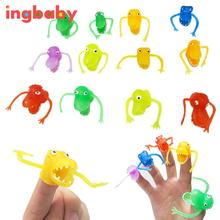 10pcs Novelty Plastic Dinosaur Refers To Finger Set Storytelling Mini Dinosaur Finger Sets Loaded With Small Eggs WJ277 ingbaby(China)