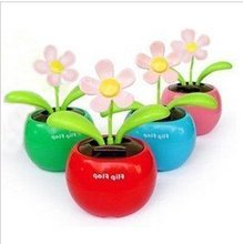 5pcs/lot Swing Solar Flower,Magic Cute Flip Flap Swing Solar Flower,Green,Blue,Pink Solar Plant Swing Solar Toy(China)