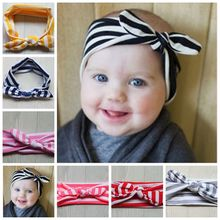 New Cotton Headband Zebra stripes knot tie headwrap Vintage Head Wrap Striped Prop stretchy Knot Girls Hair Accessories