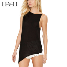 HYH HAOYIHUI Solid Black Women Camis Crew Neck Sleeveless Off Shoulder Casual Tops Streetwear Sexy Hollow Asymmetrical Out Tanks(China)