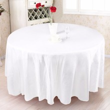 5pcs Modern Round Tablecloth 305*305cm Polyester Wedding Table Cloth Wedding Decorations Party Supply Home Textile White Black(China)