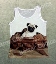 Track Ship+Vintage Vest Tanks Tank Tops Camis Cut Big Eyes Pug Dog Sitting in Pu Bag Gift House 0478