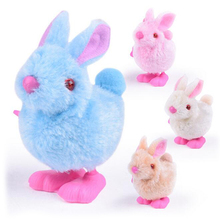 1 Pc Plastic Plush Small Cartoon Jumping White Rabbit Children's Chain Clockwork Wind-Up Mechanical Toys for Kids Funny Games(China)