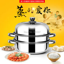 28cm high quality stainless boiler triple double boiler cooking stock big pots pans for soup cuiseur vapeur inox steamer pod