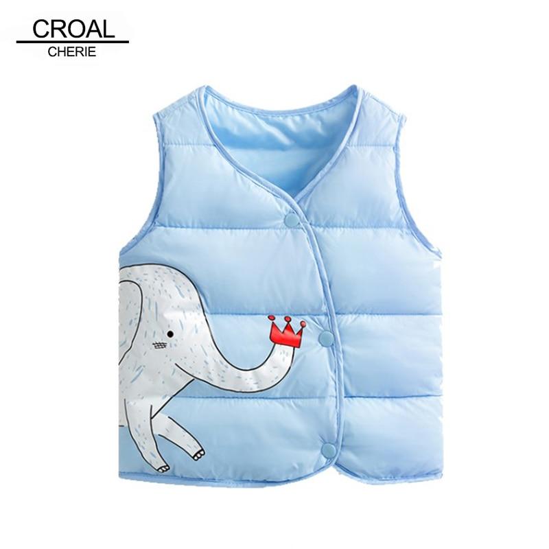 CROAL CHERIE Cotton Baby Girls Boys Winter Vest For Kids 2018 Kawaii Elephant Printing Waistcoat Children Boys Clothes 80-130cm (3)