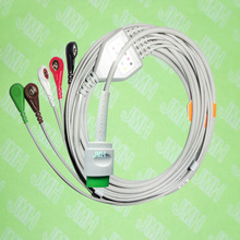 Compatible with 17pin Spacelab 90496,90369 and 90367 ECG Machine the one-piece 5 lead cable and snap leadwire,IEC or AHA.(China)