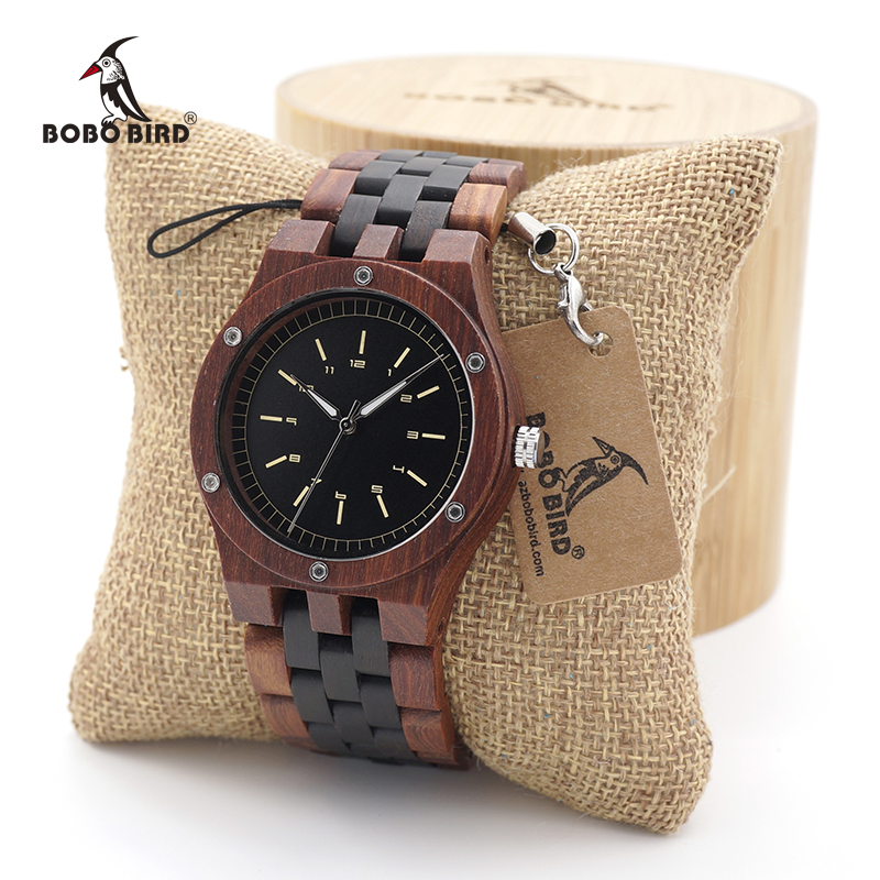 BOBO BIRD Unique Dial Natural Red Sandal Wooden Watches Mens Wristwatch With Date Create clock Gift In Wood Box saat erkek<br>