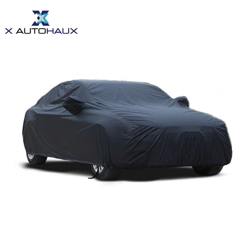 X Autohaux Universal Black Breathable Waterproof Fabric Car Cover w Mirror Pocket Winter Snow Summer Full Car Protection COVERS title=