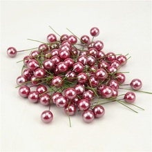20pcs / lot Mini Plastic Fake Small Berries Artificial Flower Fruit Stamens Cherry Pearl Wedding DIY Gift Box Decorated Wreaths