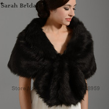 2017 New In Stock Elegant Wedding Shawls and Wraps Bridal Jacket Coat Bolero Wraps Black Faux Fur Wraps Shrug In Winter 17002