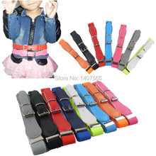 Free Shipping Candy Color 1 Inch Wide Kids/Children Elastic Waist Belt For Boys/Girls(China)