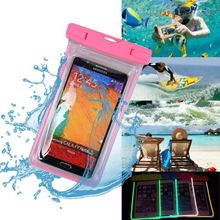 Universal Waterproof Beach Bag Case For iPhone 6 7 Luminous Transparent Dry Pouch For Samsung LG G5 HTC Under 6 inch Phone(China)