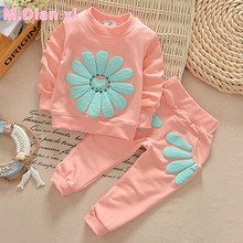 2016 spring autumn children girl clothing set baby girls sports sunflower costume kids clothing set suit(China)