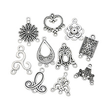 Mixed Connector Charms Antique Silver Plated Pendants for Jewelry Making Accessories Craft DIY Handmade Jewelry Findings(China)