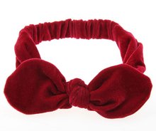 Metting Joura Girls Kids Lovely Bohemian Solid Velvet With Bow Elastic Headband Hairband Children Hair Accessories Hair Jewelry