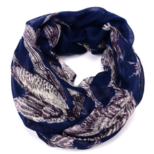 Brand new ladeis' Lovely Swallow Bird Print Infinity Scarf Cowl Loop Circle Women's viscose bird scarf summer Accessories