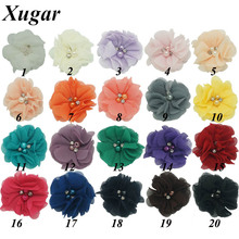 8 Pcs/Lot Sweet Chiffon Flower For Girls Kid Cute Rhinestone Pearl Without Clips DIY Hair Accessories