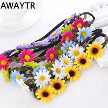 AWAYTR 2017 Ladies Beach Hair Accessories Fashion Boho Women Bride Flower Headband Bohemian Style Sun Flower Crown Hairband