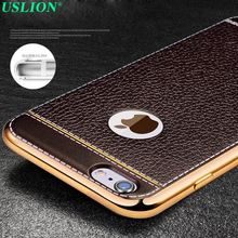 Mobile Phone Case Bags Luxury Style Electroplating TPU+Leather Skin Covers for iPhone 7 7 Plus 6 6s Plus Retro Phone Back Shell