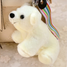 White Polar Bear Dolls Keychains keyrings Cute Bag Charm Accessory Pendant Mini Plush Stuffed Toy Cloth Wrist Rope Keychain Gift(China)