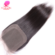 QUEEN BEAUTY HAIR Brazilian Straight Hair Closure 4x4 Remy Human Hair Free Part Lace Closure Bleached Knots With Baby Hair