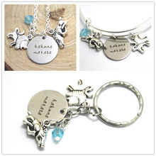 Lion King Necklace Hakuna Matata Inspired  lion boar charm  Neckace silver tone Bangle keyring keychain