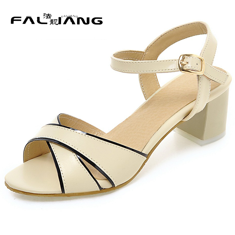 New arrival Summer plus size 11 12 13 14 Fashion sexy womens shoes Peep Toe Non-slip med Heels summer sandals ladies sandals <br>