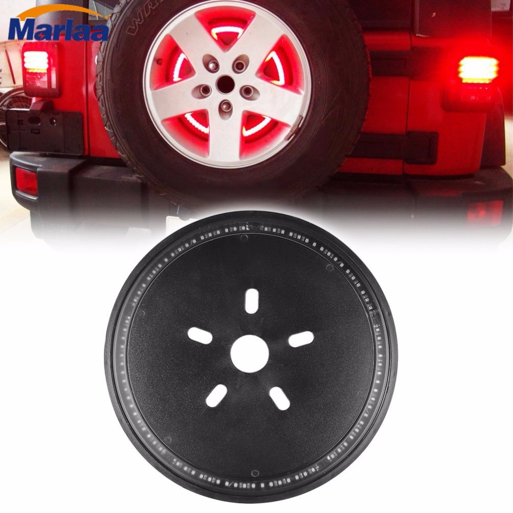 Spare Tire Cover LED Third Brake Light Red Light for 2007-2017 Jeep Wrangler JK Unlimited Rubicon Sahara<br>