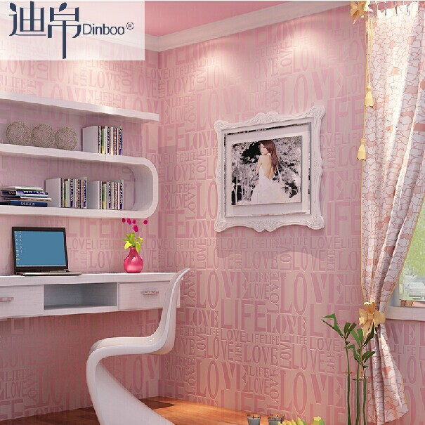 Wholesale 3d wall paper Love letter pink Korean non-woven wallpaper rolls kids room wedding bedroom TV background wallcovering<br>