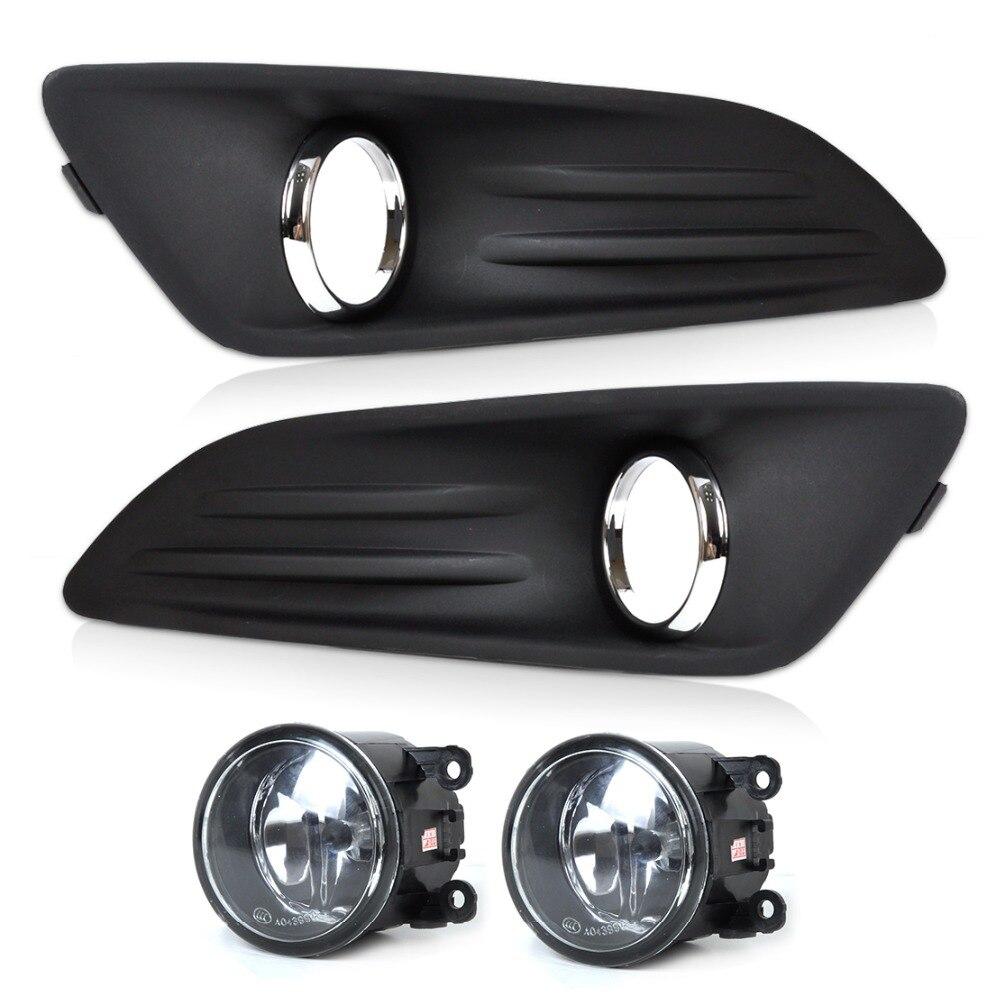 DWCX New Car Black 2pcs Front Bumper Fog Light Cover Grille + 2pcs Fog Light Lamp Set Fit for 2014 Ford Fiesta High Quality<br>