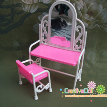 funny toys for baby girls play house toys dresser dressing table with chairs doll house for barbie doll(China)