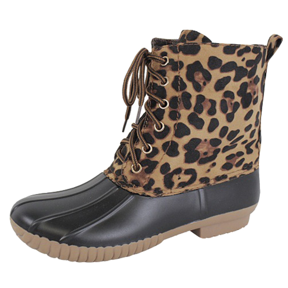 FL19 Womens Lace Up Ankle High Snow Duck Booties<br>